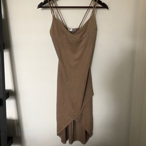 Blue Blush Bodycon dress with front slit (tan)